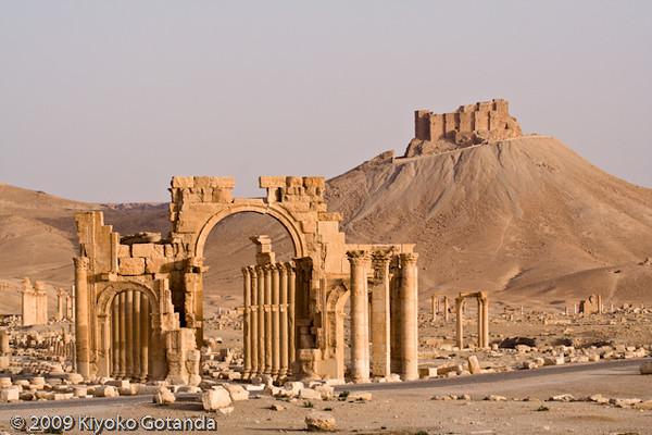 Monumental archway and the Arab Citadel, Palmyra