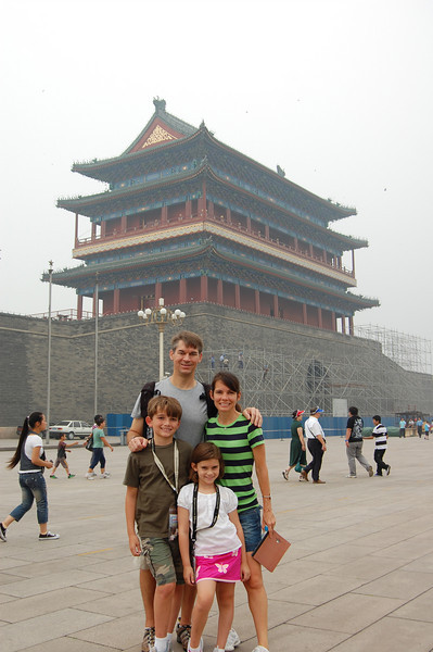 We started our trip in Beijing. 3 nights and crowds everywhere. Here we are posing in Tiannamen Square in front of the Forbidden City.