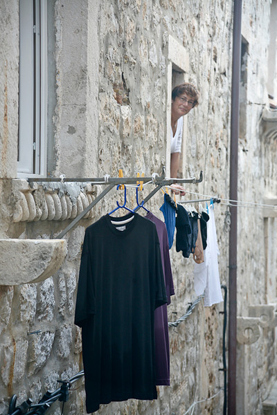 When in Dubrovnik do like the locals - hang your washing out on the line!!