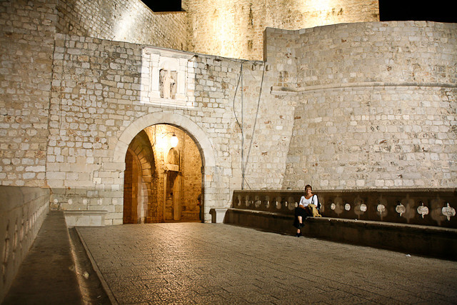 City walls at night.
