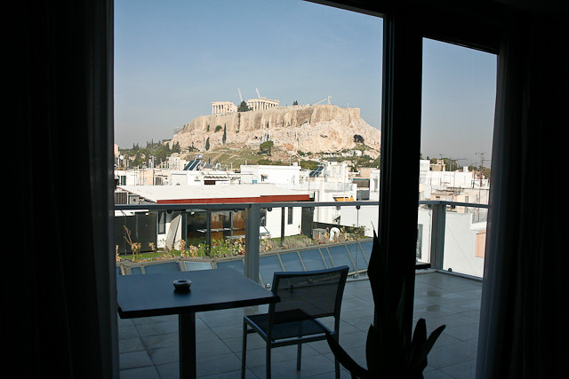 The parthenon and Acropolis from outr Hotel room ( Athens Gate)