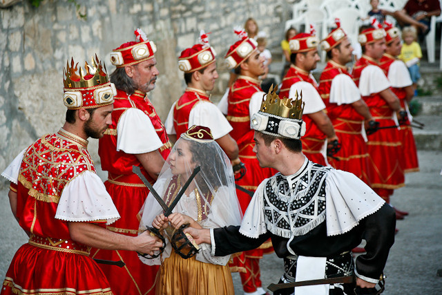 Moreska Sword Dancing - Good Guys vs Bad over princess - Korcula