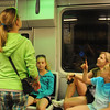 The girls had lots of questions on their first subway ride on the T.