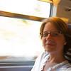 Shana relaxes on the Eurostar in the Chunnel
