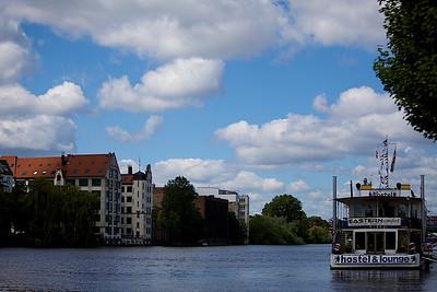 Spree River runs next to the Berlin Wall