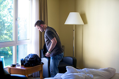 Chris packing and checking out of hotel