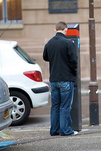 Chris at the parking meter.