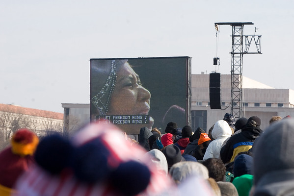 "Aretha Franklin performs ""My Country, 'Tis of Thee"" at the inauguration of Barack Obama in Washington, D.C. on January 20, 2009."