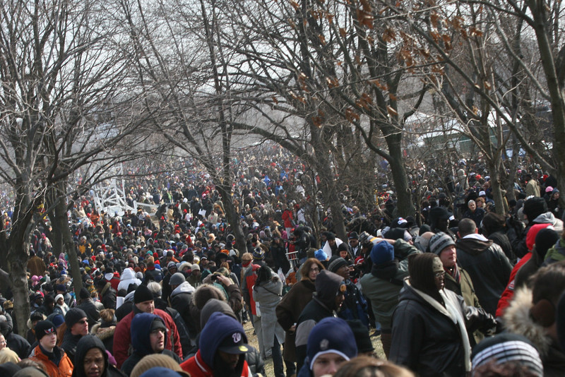 Millions of happy people leave the National Mall after the inauguration of President Barack Obama on January 20, 2009, in Washington, D.C.