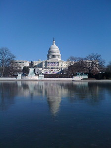 The Capiton Reflecting Pool is frozen days before the 2009 Presidential Inauguration in Washington, D.C. on January 16, 2009.