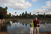 Steve and Diane in front of the reflecting pool at Angkor Wat and it's 5 towers. Or I should say IN Angkor Wat, as the outer wall is still a few city blocks distance further in the direction Steve is facing. And the towers are in the center, so it goes the far in all directions.
