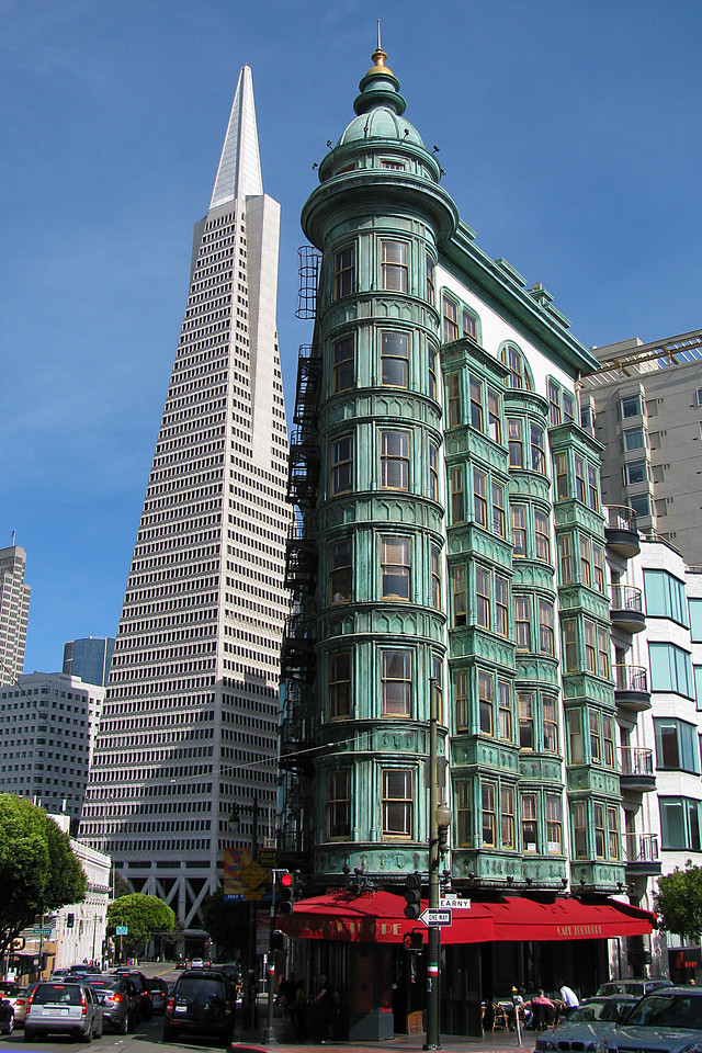 Old & New: Turn-of-the- century building near Transamerica Building.