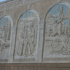 Huntsville was the home of Sam Houston.  This mural on the city square showed phases of his life.