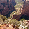 View of Angel's landing (1500' above floor) from Observation Point (2100' up.) Camera was not working during the actual hike to the top of the landing the previous day.