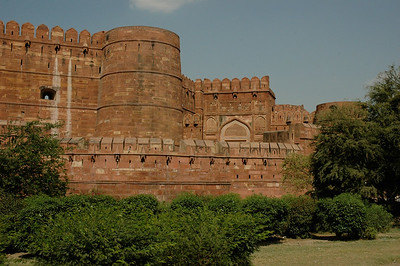 Agra: the Agra Fort, made of red sandstone.