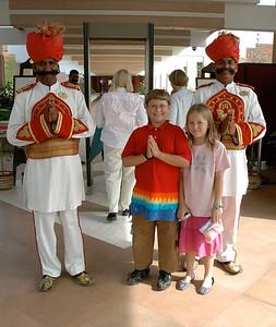 John and Mara greet the hotel guard at ITC Mughal, Agra.