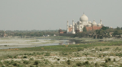 Agra Fort: a view of the Taj Mahal, across the dry Yamuna river.