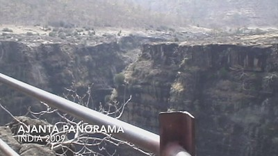 A video panorama of the Ajanta cave system, from an overlook on the opposite cliff.