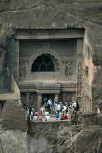 Ajanta: distant view of cave (18?).