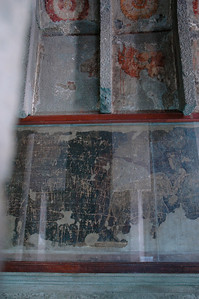 Ajanta: Cave 10, under glass, paintings from 2nd century BC (modern graffiti).
