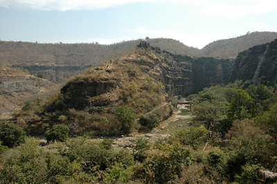 Ajanta: the river makes a sharp bend here; note viewpoint at top center.