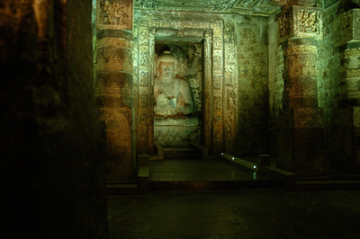 Ajanta: Buddha, larger than life; note everything is painted.