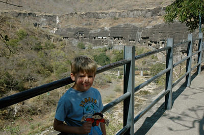 Andy is ready to explore Ajanta caves.