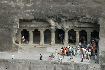 Ajanta: distant view of cave (1 or 2?).