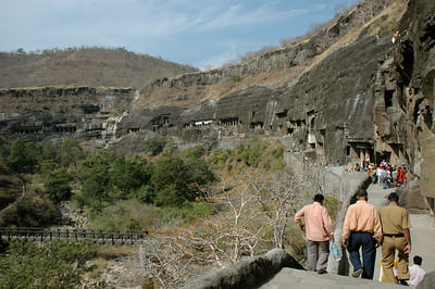 Ajanta: the caves are cut into the cliffside of this river gorge.