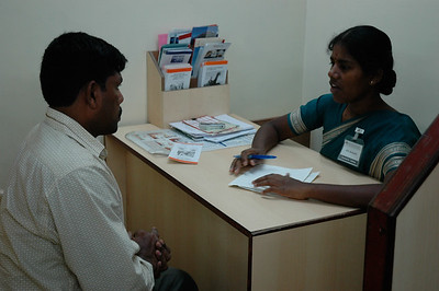 Aravind Eye Hospital: After diagnosis each patient sees a counselor to discuss options.