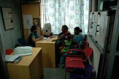 Aravind Eye Hospital: a patient exam in the pediatric unit.