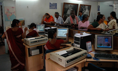 Aravind Eye Hospital: The registration clerks enter each patient into the system.