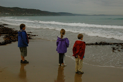We stop for a look at the water while driving the Great Ocean Road; Victoria, Australia.
