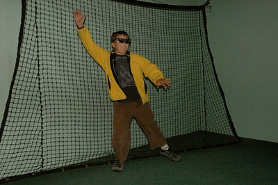 John in a augmented-reality sports exhibit, science museum, Melbourne, Australia.