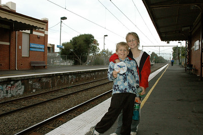 Andy and Mara at a Melbourne train station, Australia.