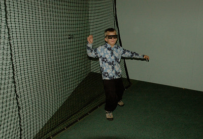 Andy in a augmented-reality sports exhibit, science museum, Melbourne, Australia.