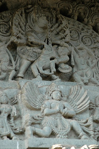 Chennakesava temple: the details are impressive -- look at the carved chain and multiple arms.