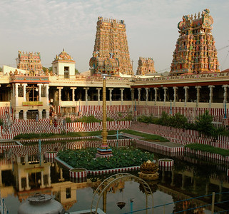 inside, the golden lotus pond and a view of the temple gopurams. ('Chitirai Thiruvizha' in Madurai.)