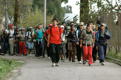 Darjeeling: we saw a large group of students back from a long hike.