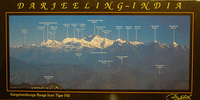 This postcard labels all the peaks visible from Darjeeling.
