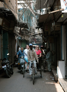 in the narrow alleys of old Delhi (note the wires!).