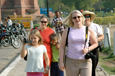 Mara, Pam, Andy, Amy, and Karen after visiting the Delhi Gate.