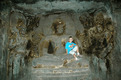 Andy at Ellora caves. Cave 12 (9th century A.D.), a three-story structure.