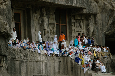 Ellora: A group of Muslim schoolchildren visit the caves.