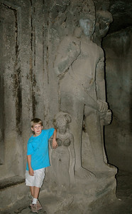 Andy in Ellora caves. Most of the sculptures were larger than life.