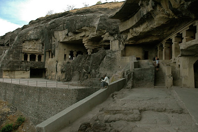 Ellora: Modern walls and steps provide access.