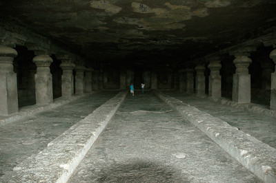 Andy and Mara at Ellora caves. This is a Chaitya, a shrine and gathering place.
