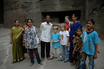 Andy and Mara pose with a family group at Ellora caves -- one of the many families who stopped us for a photo opp.