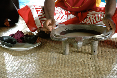kava is the traditional drink used to welcome visitors to the village. (Abaca village, Near Lautoka, Fiji.)