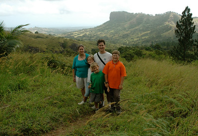 Family photo at a nice viewpoint in the hills above Nadi, in the village of Abaca, Fiji.